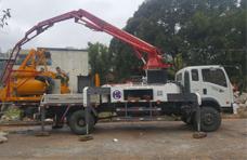 展升重工28米搅拌泵送一体车施工视频